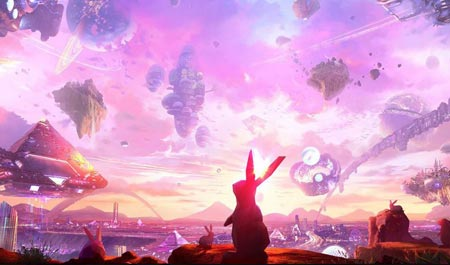 A futuristic landscape with a rabbit in front