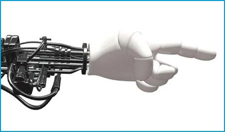 A robotic hand pointing to the right