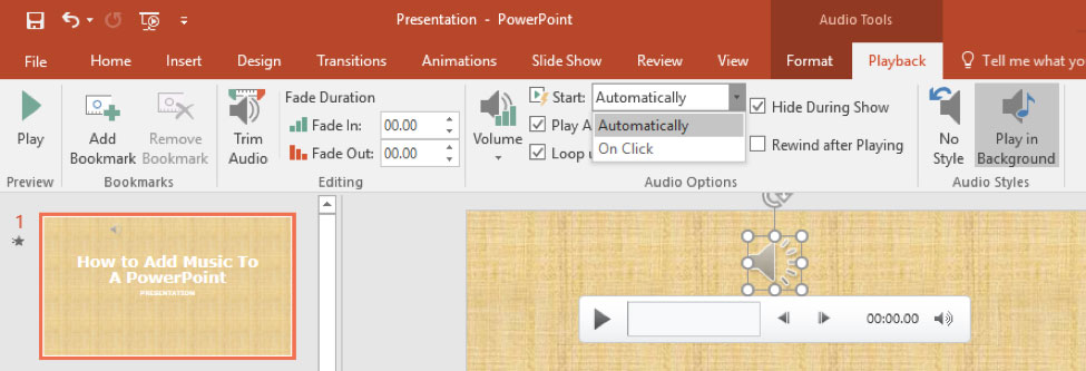 powerpoint how to add music to slideshow