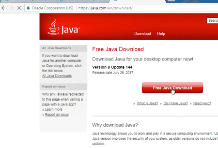 screenshot of download Java button