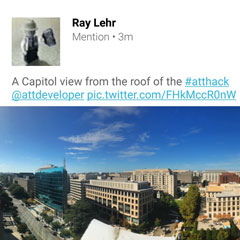 Twitter screenshot from DC AT&T Hackathon