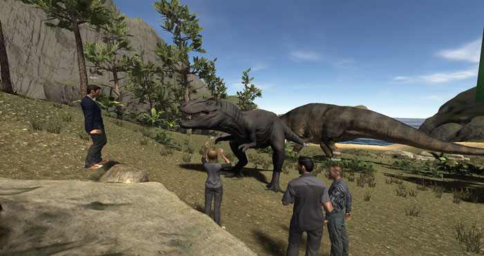 student avatars with computer-generated dinosaurs