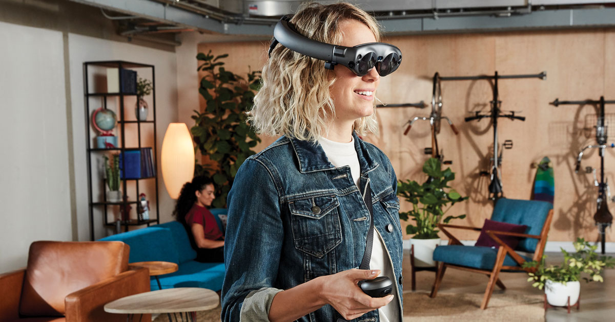 woman wearing Magic Leap