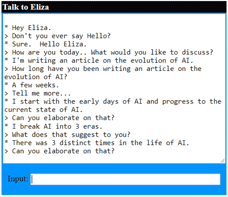 Eliza chat screenshot
